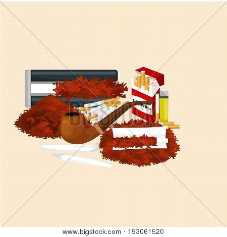 Smoking wooden pipe and tobacco and smoking equipment vector illustration.