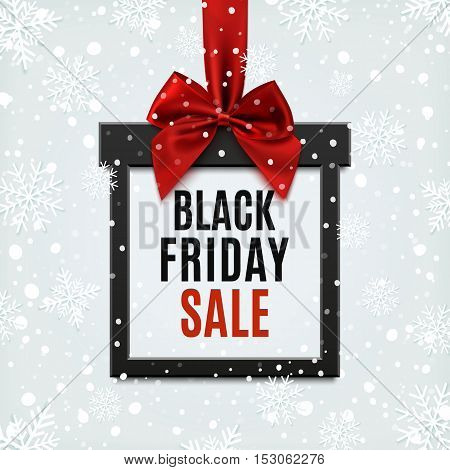 Black Friday sale, square banner in form of Christmas gift with red ribbon and bow, on winter background with snow and snowflakes. Brochure or banner template.