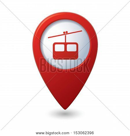 Map pointer with chair lift icon. Vector illustration