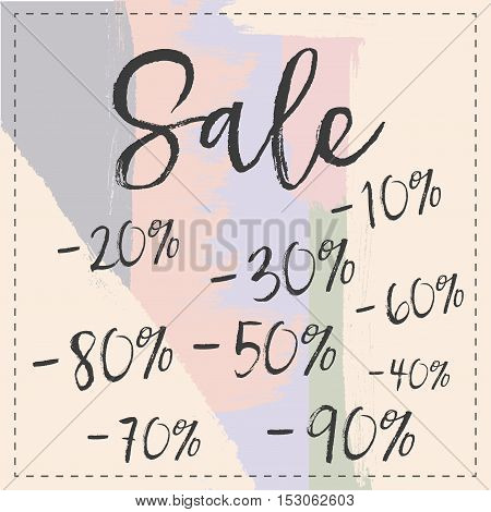 Sale stylish banner pastel brush stroke. Vector illustration