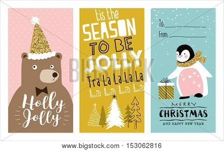 Set of Christmas cards with cute little penguin, bear and trees