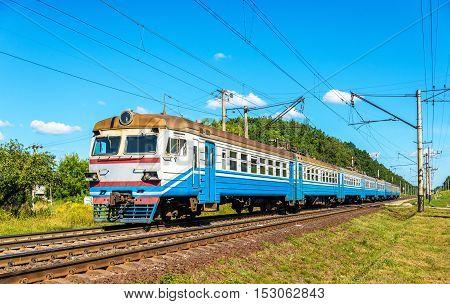Suburban train in Kiev Region of Ukraine, between Boyarka and Vasylkiv