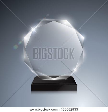 Glass trophy award. Vector award on gray background