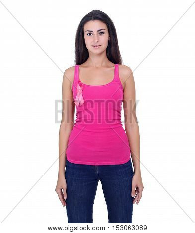 Beautiful blonde woman showing pink ribbon to support breast cancer, on the white background.