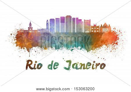 Rio de Janeiro skyline in watercolor splatters with clipping path