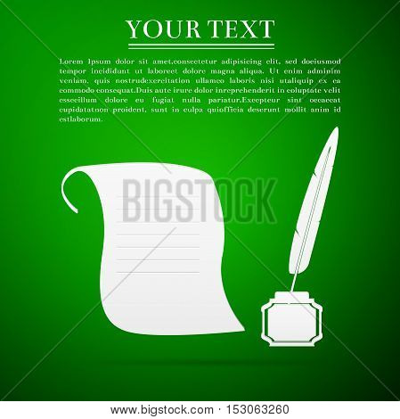 Quill Pen with inkwell and paper scroll flat icon on green background. Vector Illustration