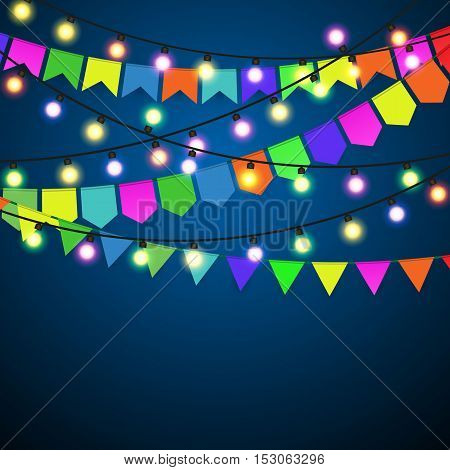 Color pennant bunting and Christmas Lights at black strings on blue background. celebration event. vector illustration