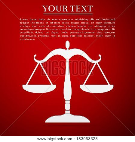 Justice scales silhouette flat icon on red background. Vector Illustration