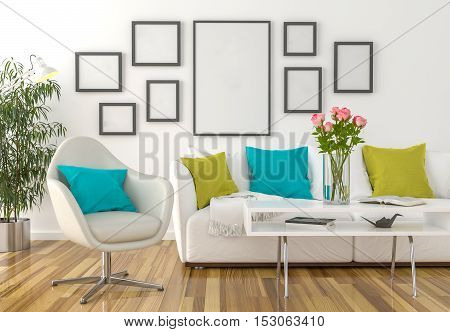 Living room - on the wall empty picture frames - 3D illustration