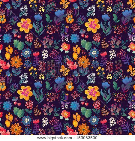 Flowers seamless pattern decorative vector card illustration