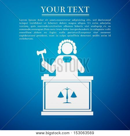 Judge with gavel flat icon on blue background. Vector Illustration