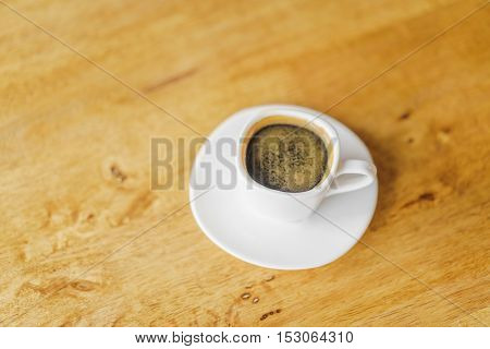 Espresso Coffee cup on wood table