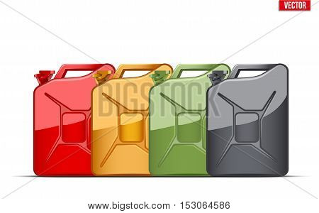 Set of Fuel container jerrycan. Gasoline canister. Oil Industrial. Vector Illustration isolated on white background.