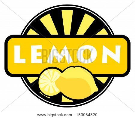 Fruit label or stamp - lemon, vector illustration