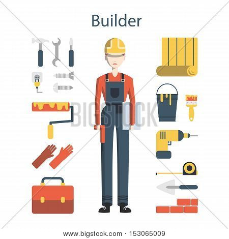 Isolated female builder on white background. Young engineer with all the tools like drill, hammer, screwdriver, gloves, paint and more.
