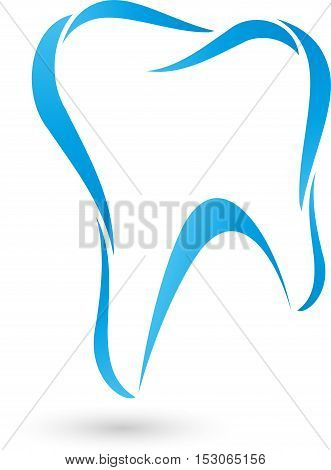 Tooth in blue, tooth, tooth and dentist logo