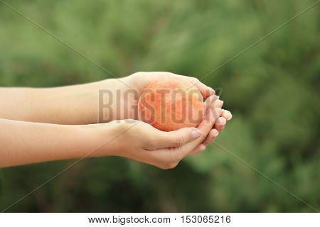 Woman holding fresh peach