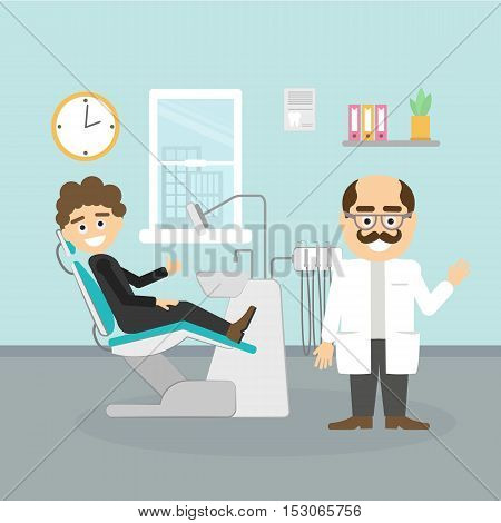 Dentist with patient. Smiling dentist with moustache and male patient at dental cabinet. Dental care and hygiene.