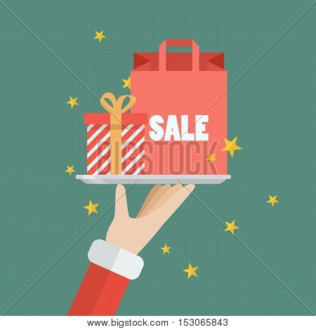 Santa Claus serving a present and shopping bag. Flat style design vector illustration
