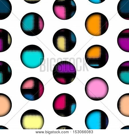 Seamless background pattern. Abstract geometric polka dot pattern in material style
