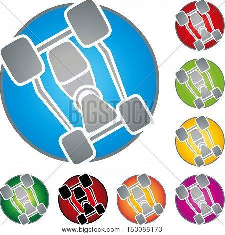 Kart, car, logo, coat of arms, button, car and sports logo