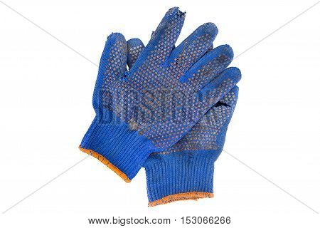 a pair of torn blue gloves on a white background