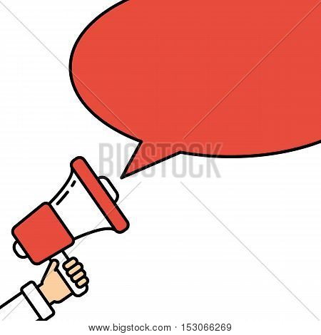 Go vote concept. Hand with megaphone on white background with red speech bubble. Presidential campaign.