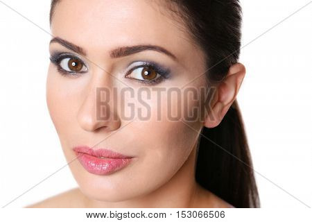 Portrait of attractive woman with beautiful makeup on white background
