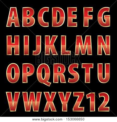 vector red shiny alphabet with golden frame