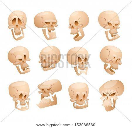 Skull face illustration isolated on white background.