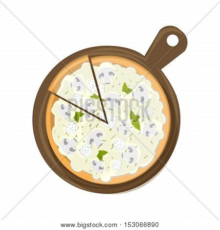 Isolated pizza on wooden board on white background. Tasty and fresh italian fast food. Pizza with cheese, mushrooms and chicken.