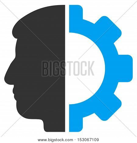 Android Head glyph pictogram. Style is flat graphic bicolor symbol, blue and gray colors, white background.