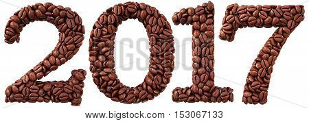 new 2017 year from coffee beans. isolated on white. 3D illustration.