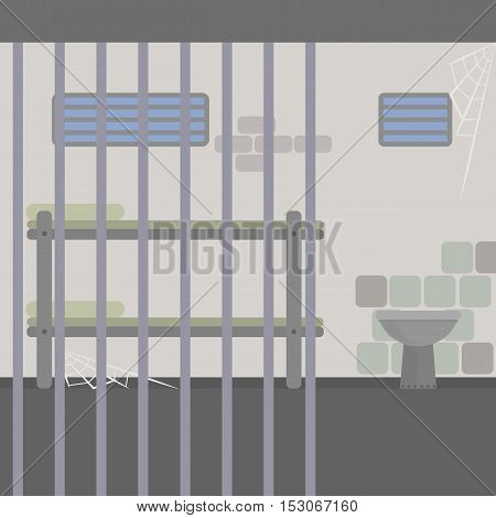 Prison cell interior. Bars, bed and toilet with big walls and small windows.