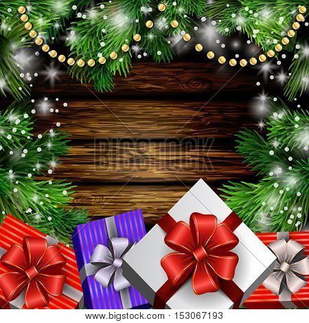 Christmas New Year design wooden background with christmas garland gift boxes and snow. Vector illustration, Cristmas tree
