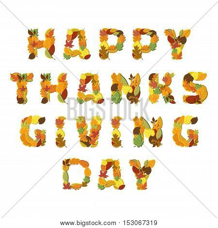 Happy Thanksgiving day Vector greeting card isolated on white background