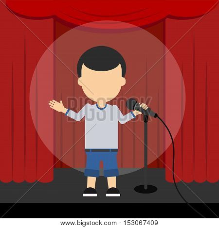 Stand up comedy. Male presenter and comedian standing at the scene with red curtains and spotlight.