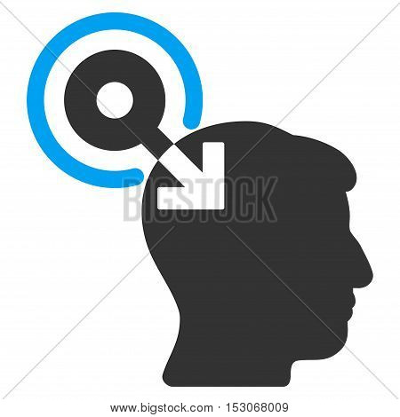 Brain Interface Plug-In glyph pictogram. Style is flat graphic bicolor symbol, blue and gray colors, white background.