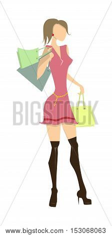 Isolated shopping woman on white background. Elegant, young and slim woman in beautiful outfit with colorful shopping bags.