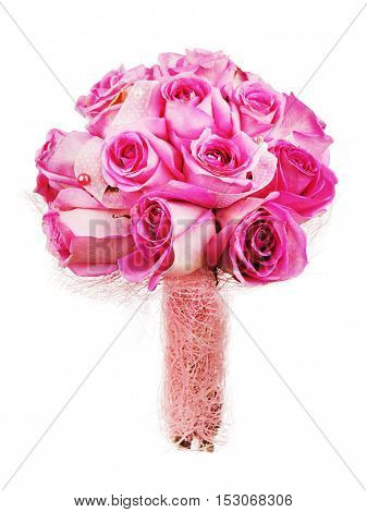 Colorful flower wedding bouquet for bride isolated on white background.