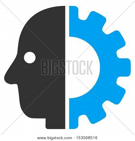 Cyborg Head glyph pictogram. Style is flat graphic bicolor symbol, blue and gray colors, white background.