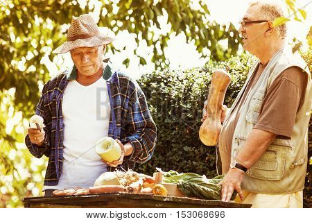 Farmer is showing vegetable to his friend.