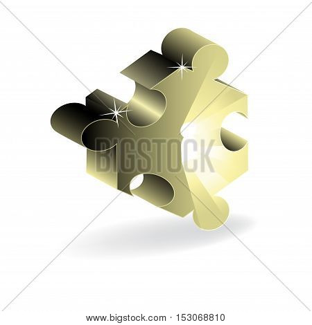 Vector piece of puzzle on white background - illustration