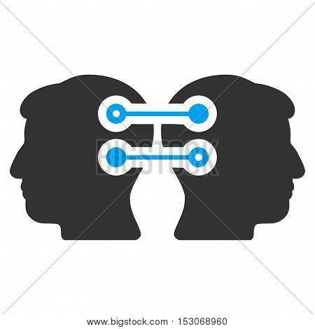 Dual Heads Interface Connection glyph pictograph. Style is flat graphic bicolor symbol, blue and gray colors, white background.