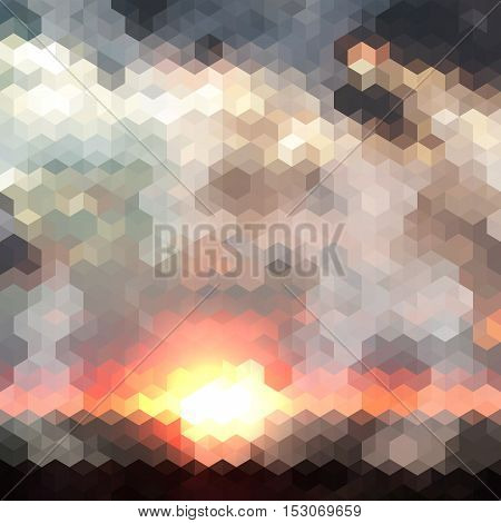 Abstract cubes background with a sunset and clouds