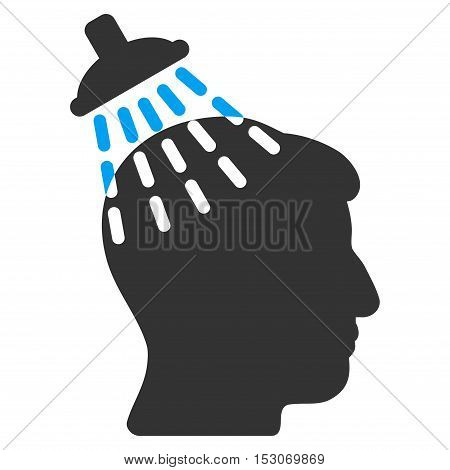 Head Shower glyph pictogram. Style is flat graphic bicolor symbol, blue and gray colors, white background.