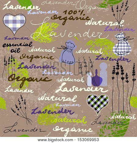 Imitation of retro background Lavender with original inscriptions. Seamless pattern.