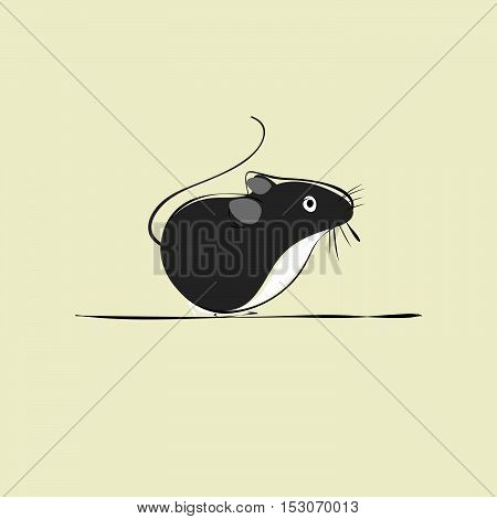 a gray mouse on a beige background
