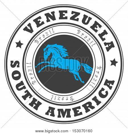Grunge rubber stamp with word Venezuela, South America inside, vector illustration