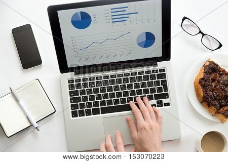 Woman hands working on a laptop with a diagram on it, glasses, mobile, office supplies, mug and a piece of pie on the plate. Business concept, lay flat